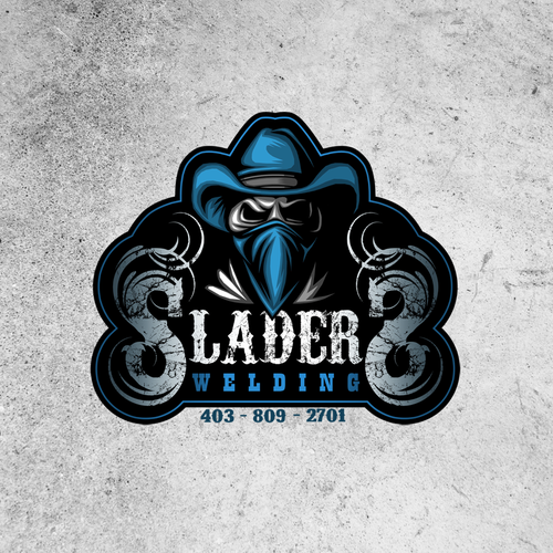 Cowboy logo with the title 'Logo design for Sladers Welding'