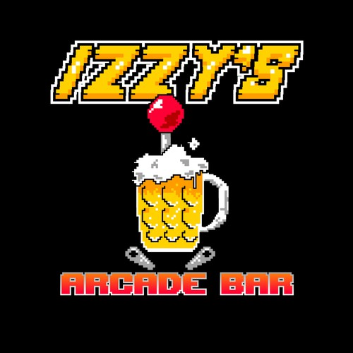 8 bit design with the title 'Izzy's Arcade bar logo'