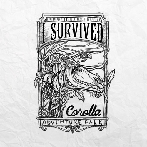 Sketch t-shirt with the title 'I SURVIVED'