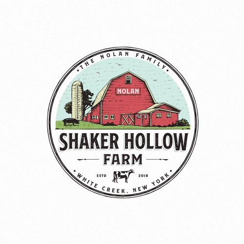 Barn design with the title 'Shaker hollow farm'