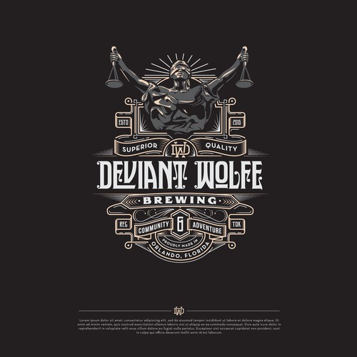 Beer design with the title 'Deviant Wolfe Brewing - Logo'
