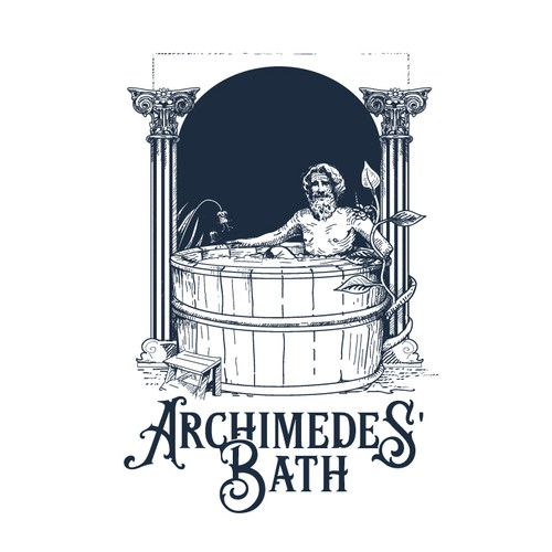 Blue logo with the title 'Archimedes 'Bath'