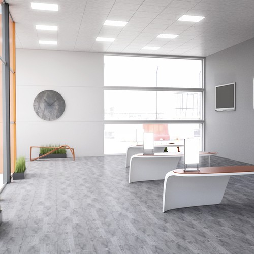 Office space design with the title 'Interior Design '