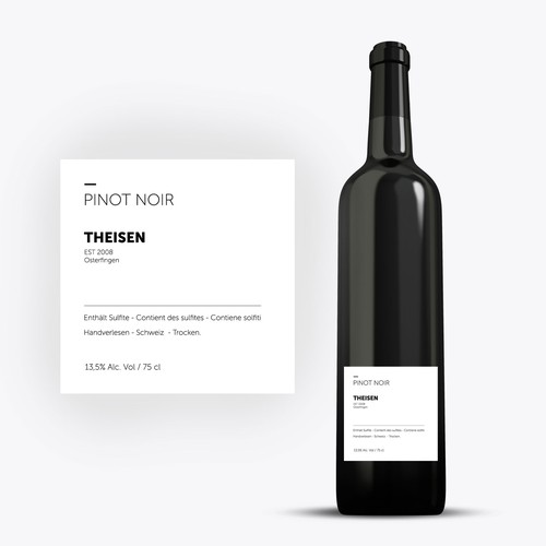 Pinot noir label with the title 'Wine Label Pinot Noir THEISEN'