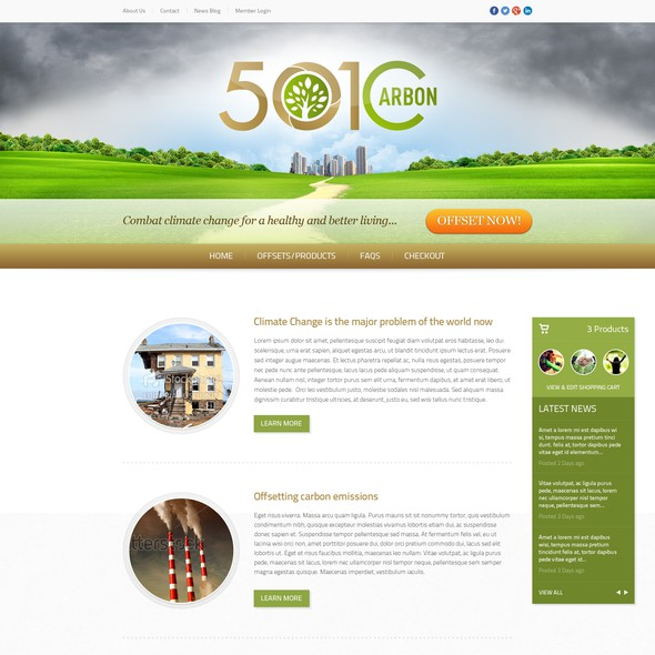 Climate change design with the title '501Carbon: Web Design'