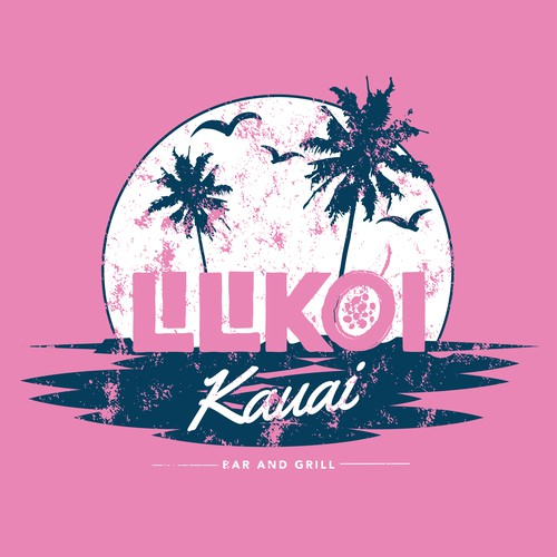 Sunset t-shirt with the title 'Lilikoi bar and grill t shirt'