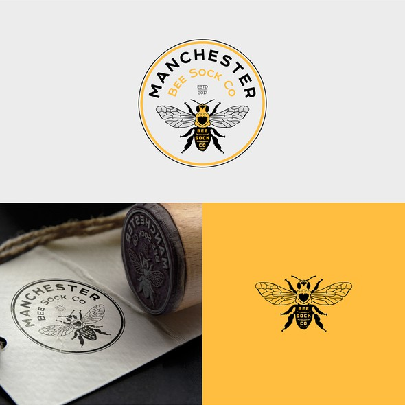 Sock design with the title 'Manchester Bee Sock Co'