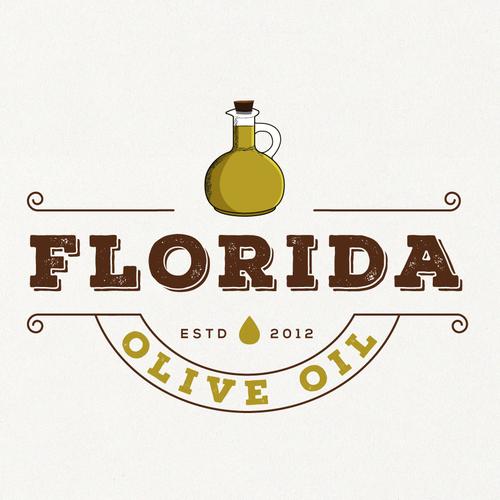 Olive oil logo with the title 'Vintage logo for Florida Olive Oil'