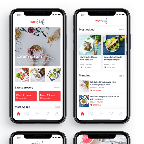 Functional design with the title 'weChef App'