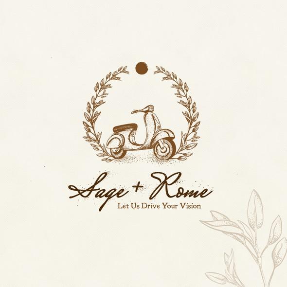 Vespa logo with the title 'Vintage logo for event planner'