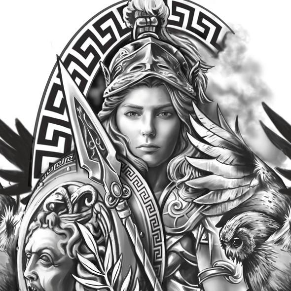 Medusa design with the title 'Athena half sleeve'