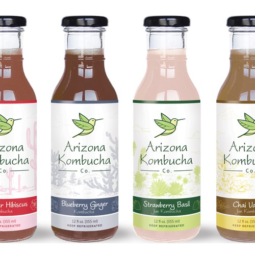 Flavor design with the title 'Product label design for Arizona Kombucha Company'