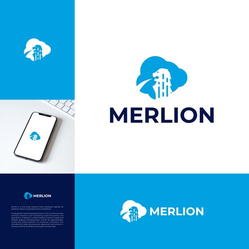 Logo with the title 'Merlion Logo   Singapore logo   Lion Logo   Cloud Logo'