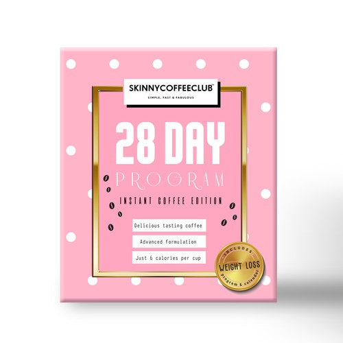 Girly packaging with the title 'Box design for 28 day detox program'