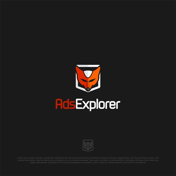 Orange and gray logo with the title 'logo design'