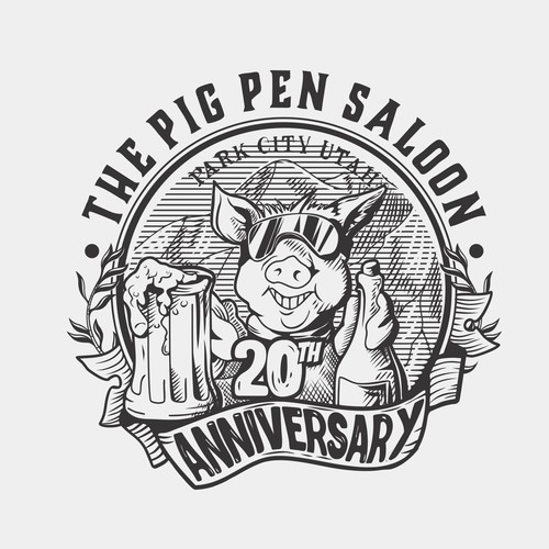 Anniversary t-shirt with the title 'The Pig Pen Saloon 20th'