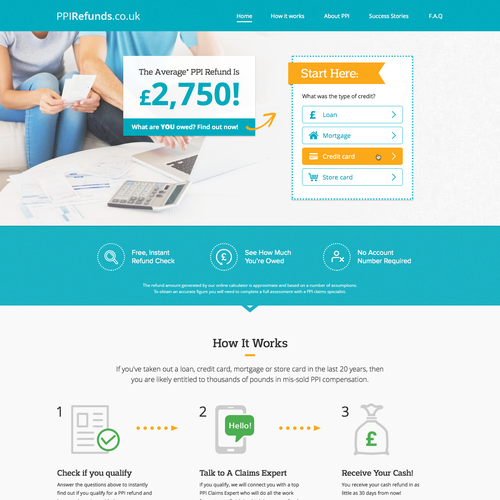 Bank design with the title 'PPI Refunds Landing page'