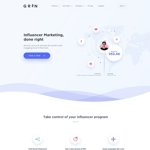 Isometric design with the title 'Homepage for influencer marketing platform. '