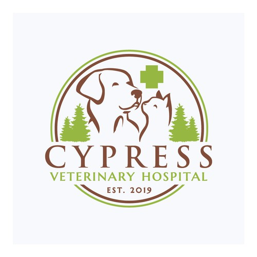 Cat, dog, and horse logo with the title 'Logo for a veterinary hospital'