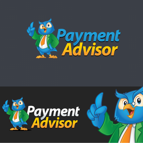 Owl logo with the title 'Logo + Character Logo  Design for Payment Advisor'