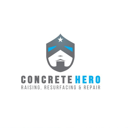 Concrete logo with the title 'Powerful mark for a hero company'