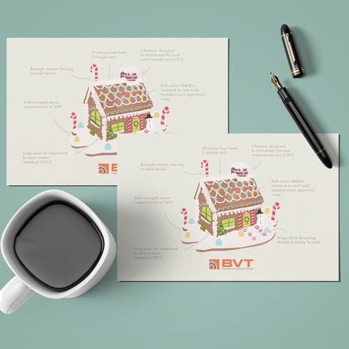House artwork with the title 'Season Postcard Design'