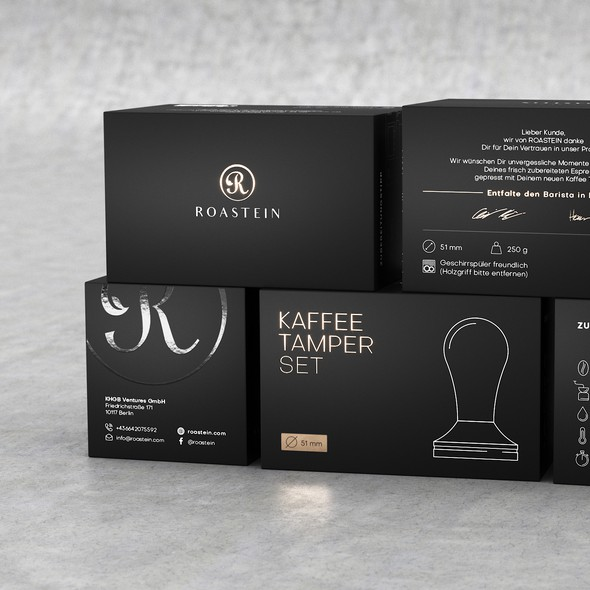 German design with the title 'Coffee Tamper Set Packaging'