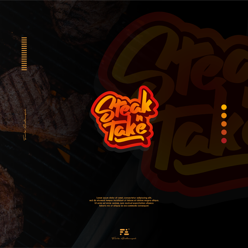 Steak logo with the title 'Steak n take Logo Concept'