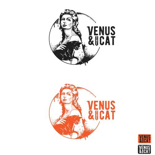 Orange logo with the title 'Venus & the Cat'