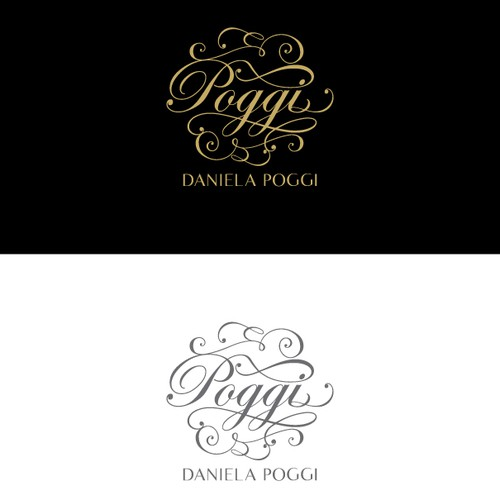 Calligraphy logo with the title 'Elegant and whimsical logo for a fashion designer'