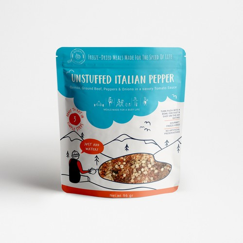 Illustration packaging with the title 'Adventurous package for meals for busy life'