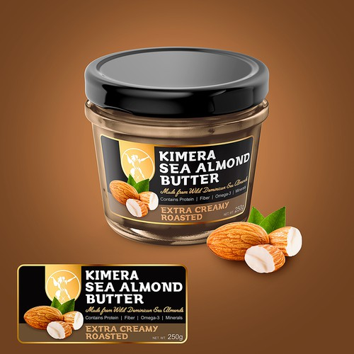 Almond packaging with the title 'Label Kimera Sea Almond Butter'