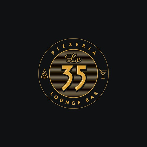 Lounge design with the title 'Le 35 Pizzeria'
