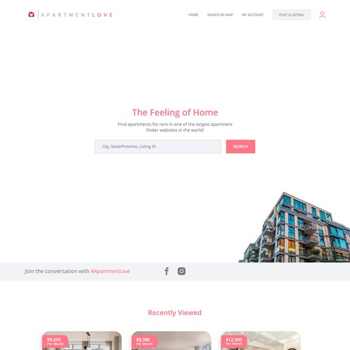 Trendy website with the title 'Apartment Renting Website'