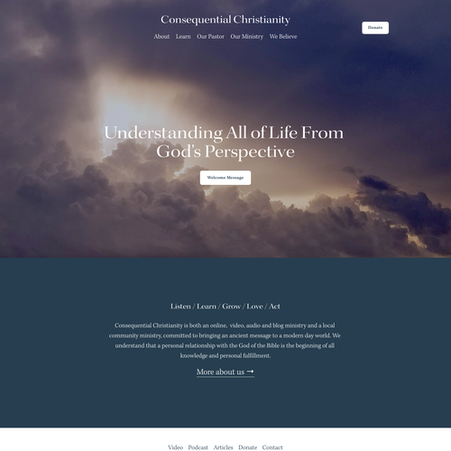 Ministry design with the title 'Consequential Christianity'