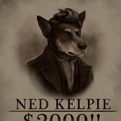 Portrait t-shirt with the title 'Ned Kelpie'