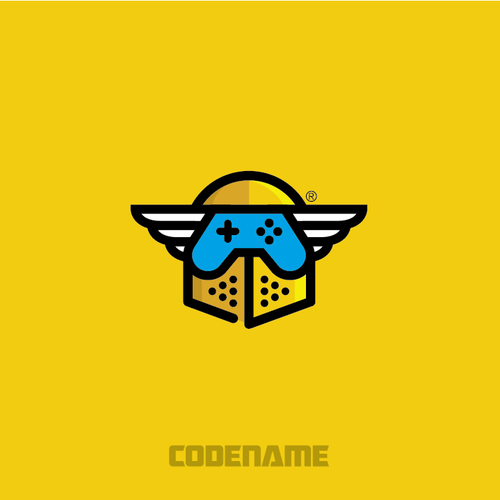 Knight design with the title 'Logo for video game company called Code Name'
