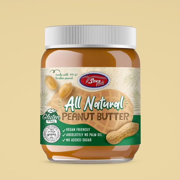 Peanut butter design with the title 'All Natural Peanut Butter'
