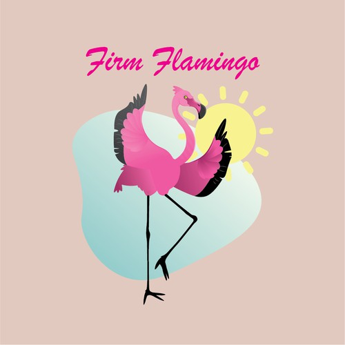 Pink t-shirt with the title 'Firm Flamingo'