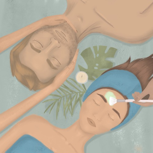 Spa design with the title 'Skincare illustration'