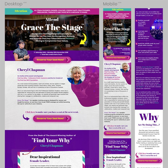 Author website with the title 'Event Page Redesign - Grace the stage'