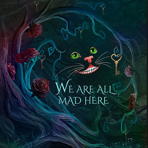 Alice in Wonderland design with the title 'Double sided invite illustration that is Alice in Wonderland themed'