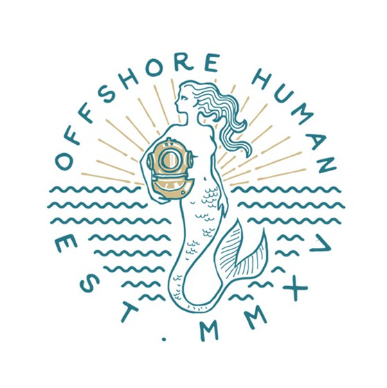 Mermaid logo with the title 'OFFSHORE HUMAN LOGO'