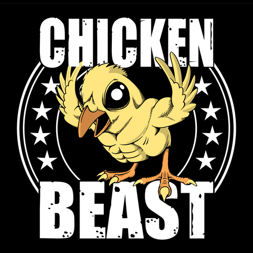 Colorful t-shirt with the title 'Chicken Beast'