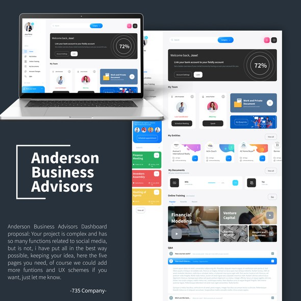 Business design with the title 'Bussiness advisor web inteface.'