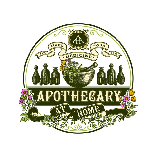 Herbal design with the title 'Apothecary At Home'