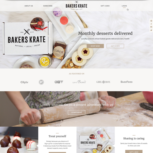 Classy website with the title 'Web design for bakery'