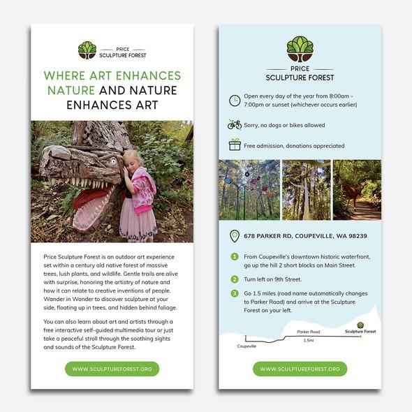 Rack card design with the title 'Sculpture Park Rack Card Design'
