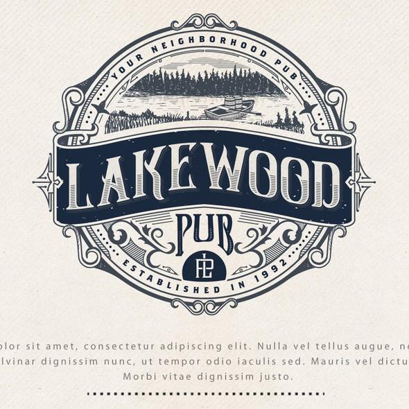 Pub design with the title 'LOGO DESIGN FOR LAKEWOOD PUB'