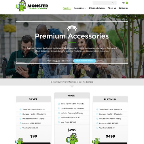 B2B design with the title 'Wholesale Business to Business Landing Page for Smartphone Accessories'